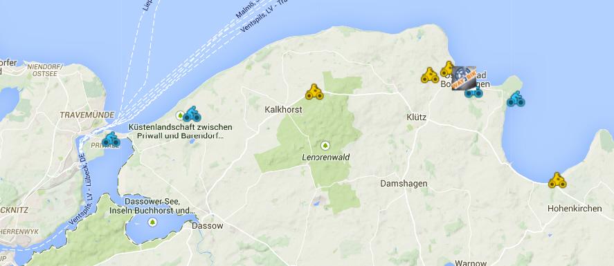 Alle Fahrrad Verleihstationen und Radtouren rund um Boltenhagen an der Ostsee